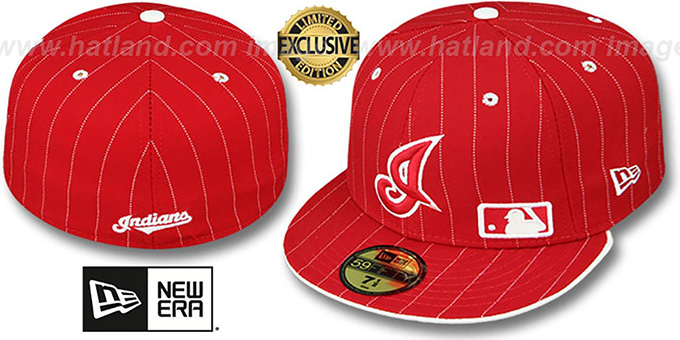 Indians 'FABULOUS' Red-White Fitted Hat by New Era : pictured without stickers that these products are shipped with