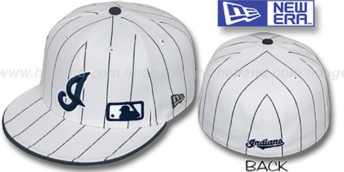 Indians 'FABULOUS' White-Navy Fitted Hat by New Era : pictured without stickers that these products are shipped with