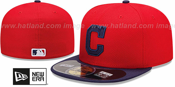 cheap for discount 7c628 2b132 Indians  MLB DIAMOND ERA  59FIFTY Red-Navy BP Hat by New Era