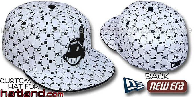 Indians 'MLB FLOCKING' White-Black Fitted Hat by New Era : pictured without stickers that these products are shipped with