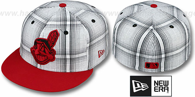 Indians 'PLAIDIE' Red Fitted Hat by New Era : pictured without stickers that these products are shipped with