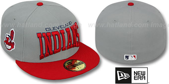 Indians 'PRO-ARCH' Grey-Red Fitted Hat by New Era : pictured without stickers that these products are shipped with