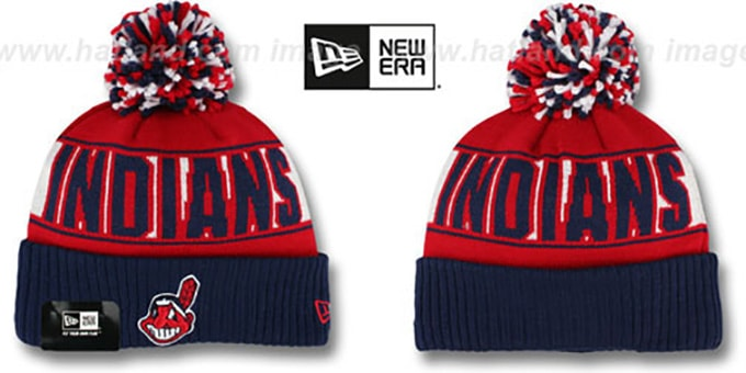 Indians 'REP-UR-TEAM' Knit Beanie Hat by New Era : pictured without stickers that these products are shipped with