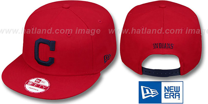 Indians 'REPLICA ALTERNATE-1 SNAPBACK' Hat by New Era : pictured without stickers that these products are shipped with
