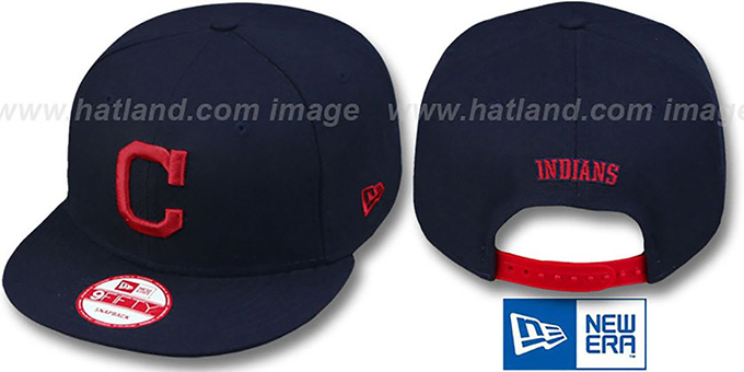 Indians 'REPLICA ROAD SNAPBACK' Hat by New Era : pictured without stickers that these products are shipped with