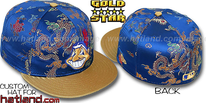 Indians 'SATIN DRAGONS' Royal-Gold Fitted Hat by New Era : pictured without stickers that these products are shipped with