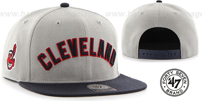 Indians 'SCRIPT-SIDE SNAPBACK' Grey-Navy Hat by Twins 47 Brand : pictured without stickers that these products are shipped with