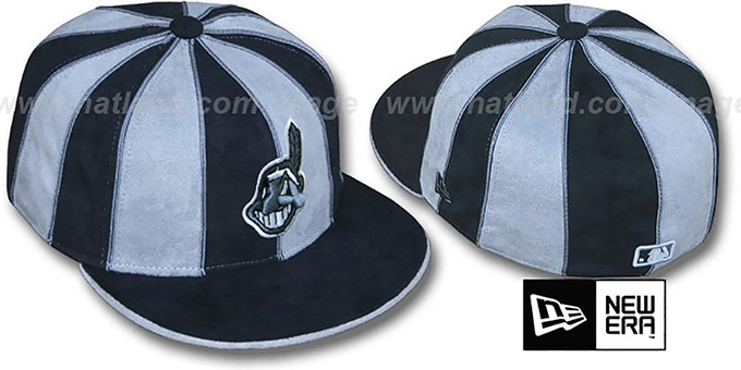 Indians 'SUEDE 12-PACK' Black-Grey Fitted Hat by New Era : pictured without stickers that these products are shipped with
