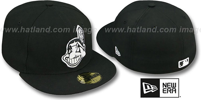 Indians 'TEAM-BASIC' Black-White Fitted Hat by New Era : pictured without stickers that these products are shipped with