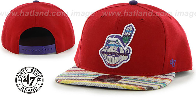 Indians 'WARCHILD SNAPBACK' Red Hat by Twins 47 Brand : pictured without stickers that these products are shipped with