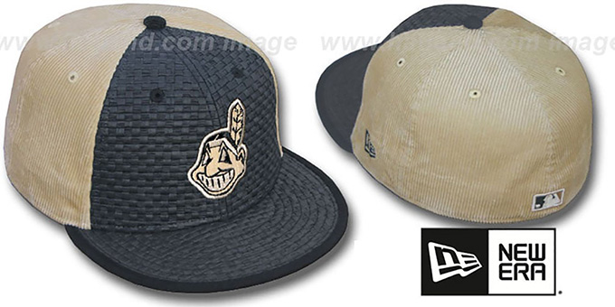 Indians 'WEAVE-N-CORD' Fitted Hat by New Era - black-tan : pictured without stickers that these products are shipped with