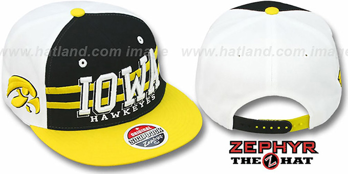 Iowa '2T SUPERSONIC SNAPBACK' Black-Gold Hat by Zephyr : pictured without stickers that these products are shipped with