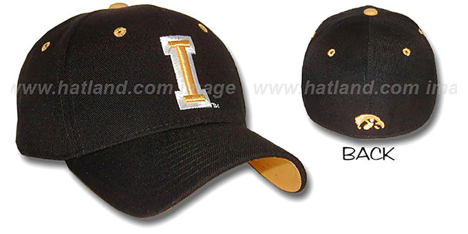 Iowa 'DH' Black Fitted Hat by Zephyr : pictured without stickers that these products are shipped with