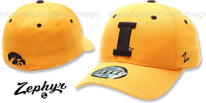 Iowa 'DH' Gold Fitted Hat by Zephyr : pictured without stickers that these products are shipped with