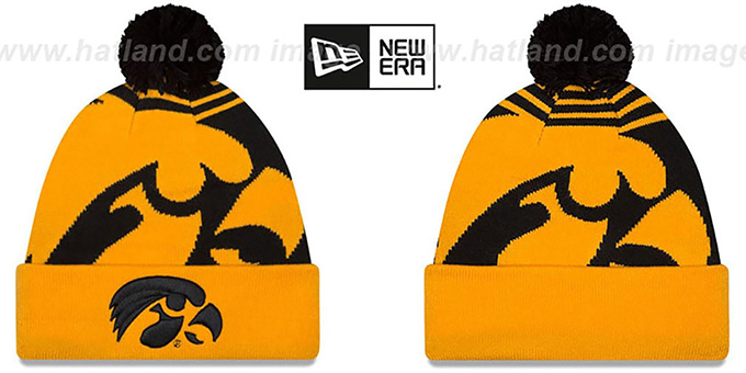 Iowa 'LOGO WHIZ' Black-Gold Knit Beanie Hat by New Era : pictured without stickers that these products are shipped with