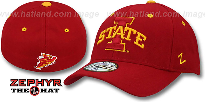 Iowa State 'DH - STATE' Red Fitted Hat by Zephyr : pictured without stickers that these products are shipped with