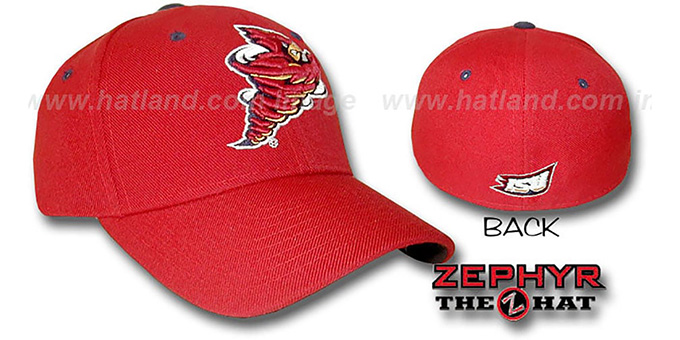 Iowa State 'DHS' Fitted Hat by ZEPHYR - red : pictured without stickers that these products are shipped with