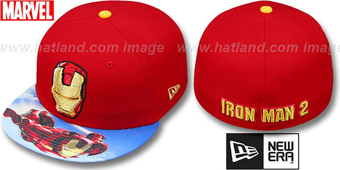 Iron Man 2 'HI-RES VIZA PRINT' Red Fitted Hat by New Era : pictured without stickers that these products are shipped with