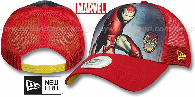 Iron Man 'SPLASH FRONT TRUCKER' Adjustable Hat by New Era : pictured without stickers that these products are shipped with