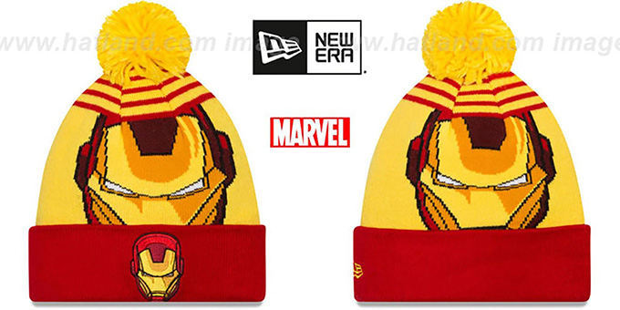 Ironman 'LOGO WHIZ' Gold-Red Knit Beanie Hat by New Era : pictured without stickers that these products are shipped with