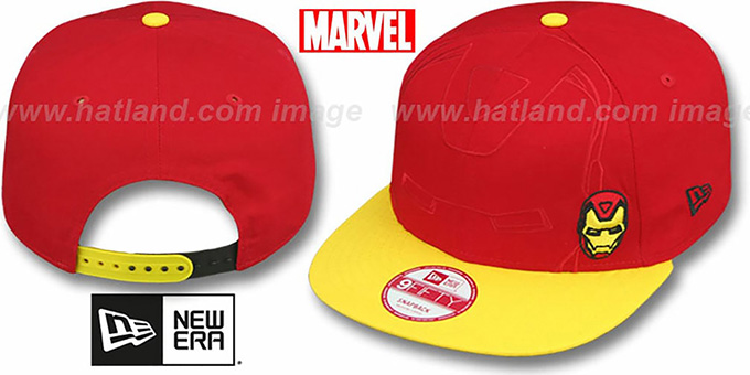 Ironman 'OVERFACE SNAPBACK' Red-Gold Hat by New Era : pictured without stickers that these products are shipped with