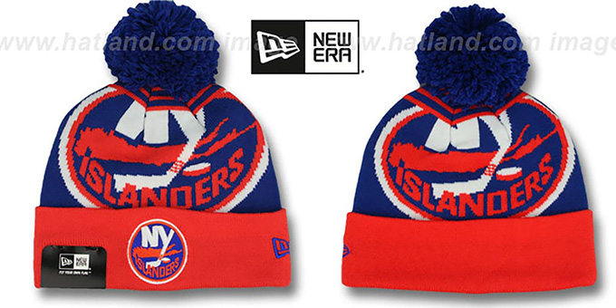 Islanders 'LOGO WHIZ' Royal-Orange Knit Beanie Hat by New Era : pictured without stickers that these products are shipped with