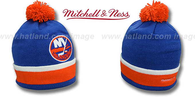 Islanders 'XL-LOGO BEANIE' Royal by Mitchell and Ness : pictured without stickers that these products are shipped with