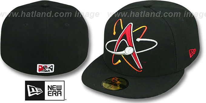 Isotopes 'MIGHTY-XL' Black Fitted Hat by New Era : pictured without stickers that these products are shipped with
