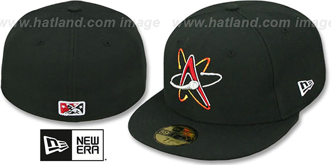 Isotopes 'PERFORMANCE HOME' Black Fitted Hat by New Era : pictured without stickers that these products are shipped with