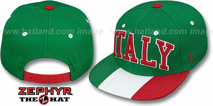 Italy 'SUPERSTAR SNAPBACK' Green Hat by Zephyr : pictured without stickers that these products are shipped with