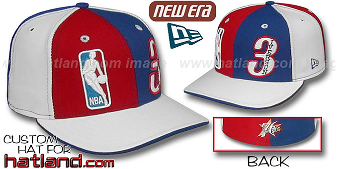 Iverson 'DOUBLE WHAMMY' Red-Royal-White Fitted Hat : pictured without stickers that these products are shipped with