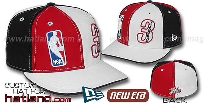 Iverson 'DOUBLE WHAMMY' Red-White-Black Fitted Hat : pictured without stickers that these products are shipped with