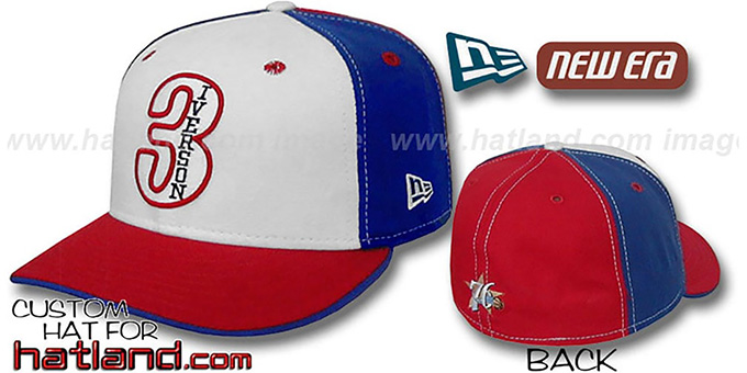 Iverson 'PINWHEEL' White-Royal-Red Fitted Hat by New Era : pictured without stickers that these products are shipped with
