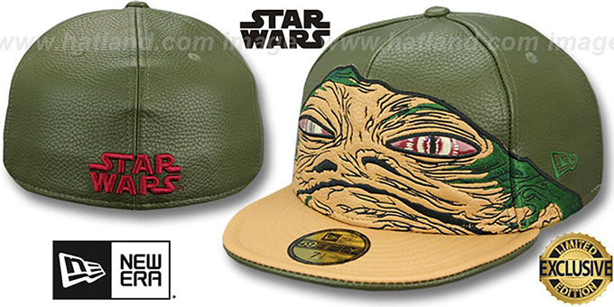 Jabba the Hutt 'CHARACTER FACE' Fitted Hat by New Era : pictured without stickers that these products are shipped with