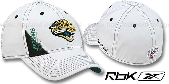Jaguars '2010 DRAFT-DAY FLEX' White Hat by Reebok : pictured without stickers that these products are shipped with