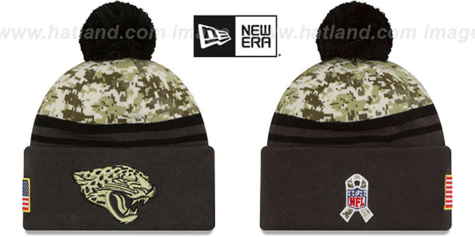 Jaguars '2016 SALUTE-TO-SERVICE' Knit Beanie Hat by New Era : pictured without stickers that these products are shipped with