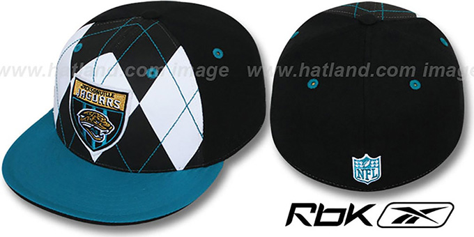 Jaguars 'ARGYLE-SHIELD' Black-Teal Fitted Hat by Reebok : pictured without stickers that these products are shipped with