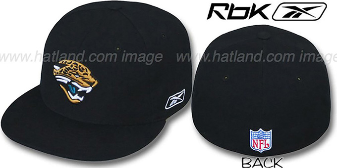 Jaguars 'COACHES' Black Fitted Hat by Reebok : pictured without stickers that these products are shipped with