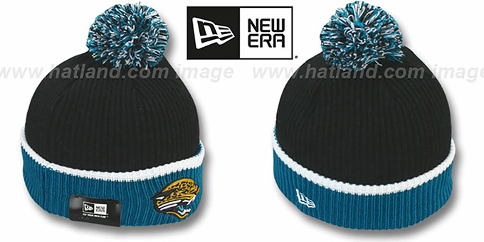 Jaguars 'NFL FIRESIDE' Black-Teal Knit Beanie Hat by New Era : pictured without stickers that these products are shipped with