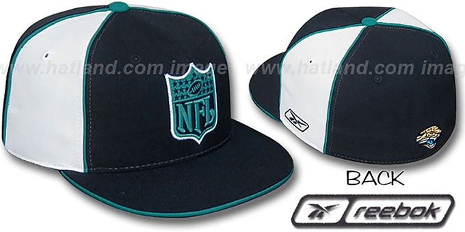 Jaguars 'NFL SHIELD PINWHEEL' Black White Fitted Hat by Reebok