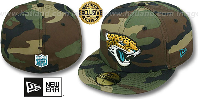 Jaguars 'NFL TEAM-BASIC' Army Camo Fitted Hat by New Era : pictured without stickers that these products are shipped with