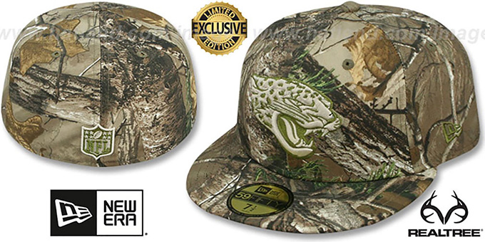 Jaguars 'NFL TEAM-BASIC' Realtree Camo Fitted Hat by New Era : pictured without stickers that these products are shipped with