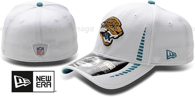 Jaguars 'NFL TRAINING FLEX' White Hat by New Era : pictured without stickers that these products are shipped with