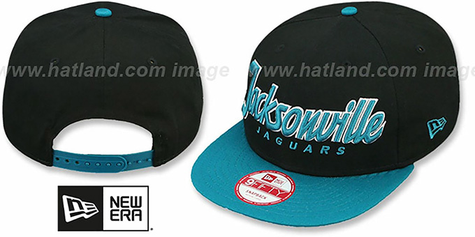 Jaguars 'SNAP-IT-BACK SNAPBACK' Black-Teal Hat by New Era : pictured without stickers that these products are shipped with