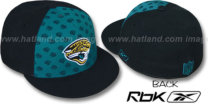 Jaguars 'TEAM-PRINT PINWHEEL' Teal-Black Fitted Hat by Reebok : pictured without stickers that these products are shipped with