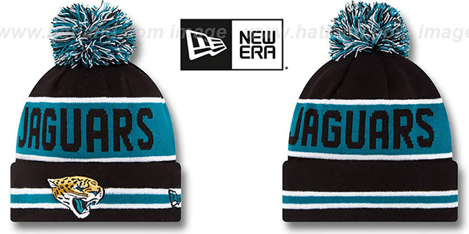 Jaguars 'THE-COACH' Black Knit Beanie Hat by New Era : pictured without stickers that these products are shipped with