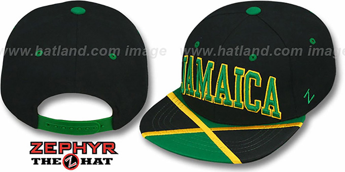 Jamaica 'SUPERSTAR SNAPBACK' Black Hat by Zephyr : pictured without stickers that these products are shipped with