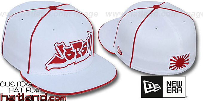 Japan 'GRAFFITI PIPING-2' White Fitted Hat by New Era : pictured without stickers that these products are shipped with