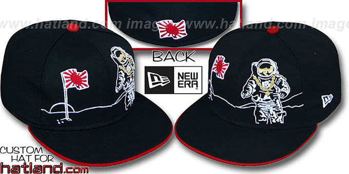 Japan 'MOONMAN' Black Fitted Hat by New Era : pictured without stickers that these products are shipped with