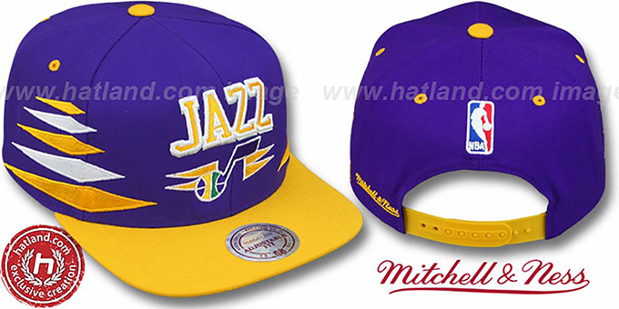 Jazz '2T DIAMONDS SNAPBACK' Purple-Gold Adjustable Hat by Mitchell & Ness : pictured without stickers that these products are shipped with
